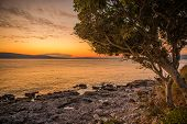 Scenic Mediterranean Sea In The Croatian North West. Sunset Scenery. poster