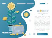 Money Vector Background. Money Tree With Gold Coins And A Wallet. Landing Page Concept On Business A poster