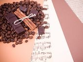 stock photo of circumcision  - Coffee and sweets in the background of the photo for the design - JPG