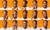 Different Emotions Collage. African American Guy Grimacing Expressing Series Of Negative And Positiv poster