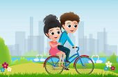 Valentines Riding Bicycle Vector Characters Concept. Valentine Couple Dating And Riding In Bike In P poster
