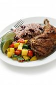 stock photo of jerk  - jerk chicken plate - JPG