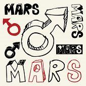image of ares  - doodle Mars symbol - JPG