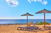 Beach with parasols and chaise longues by the sea at seaside resort on sunny summer day poster