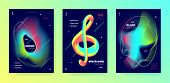 Neon Music Poster. Gradient Lines. Electronic Club Festival. Multicolor 3d Fluid Background. Modern  poster