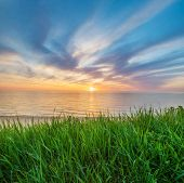 Sundown composition landscape. Sky, sea, and green grass during sunset. poster