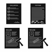 Vector Illustration Of Form And Document Symbol. Set Of Form And Mark Stock Vector Illustration. poster