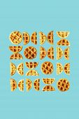 Geometric Art From Belgian Waffles - Round And Semi-round Shapes On Trendy Blue Background. Minimal  poster