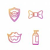 Set Line Cream Or Lotion Cosmetic Tube, Mustache And Beard, Mustache And Beard On Shield And Bow Tie poster