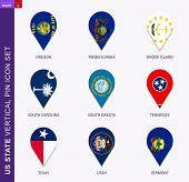Vertical Pin Icon Set, 9 Us Staes Flag: Oregon, Pennsylvania, Rhode Island, South Carolina, South Da poster