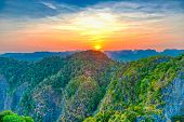 Majestic Mountain Landscape At Sunset poster