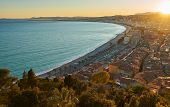 Evening Aerial View Of Nice From Viewpoint On Castle Hill At Sunset poster