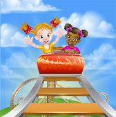 Cartoon Girls Riding On A Roller Coaster Ride At A Theme Park Or Amusement Park poster