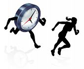 Silhouette Woman Running From A Clock Or Racing It Concept For Time Pressure Or Work Life Balance, B poster