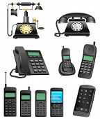 pic of mobile-phone  - The collection which shows evolution of phones isolated on a white background - JPG