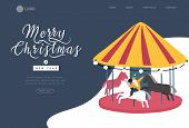 Landing Page Template Christmas And New Year Holiday Fair. Mother Takes Photo Of Her Child Daughter  poster