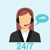 Call Center Icon. Customer Service And Support Center. Call Center Operator. Vector Illustration. poster