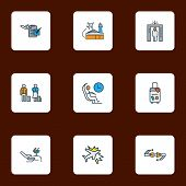 Airport Icons Colored Line Set With Lounge, Plane Crash, Flight Date And Other Organizer Elements. I poster
