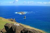 Motu Nui Island And The Smaller Motu Iti Island With Motu Kao Kao Sea Stack As Seen From Orongo Vill poster