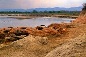 Evening Photo Of Luangwa River, South Luangwa National Park Border. Hdr Photo.african River With Hip poster