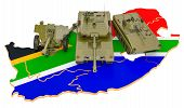 Combat Vehicles On South African Map. Military Defence Of South Africa Concept, 3d Rendering Isolate poster