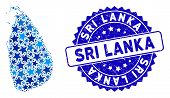 Blue Sri Lanka Island Map Collage Of Stars, And Scratched Rounded Stamp. Abstract Geographic Scheme  poster