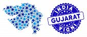 Blue Gujarat State Map Collage Of Stars, And Distress Rounded Stamp Seal. Abstract Geographic Plan I poster