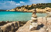 Stacked Stones On The Most Beautiful Beaches Of Sardinia. Paradise Place For Vacations. Stacked Ston poster