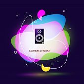 Black Stereo Speaker Icon Isolated On Blue Background. Sound System Speakers. Music Icon. Musical Co poster