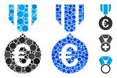 Euro Honor Medal Mosaic Of Spheric Dots In Different Sizes And Color Tinges, Based On Euro Honor Med poster
