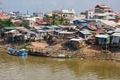 picture of overpopulation  - The poor area near the river in Phnom Penh Cambodia - JPG