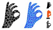 Ok Gesture Mosaic Of Small Circles In Variable Sizes And Color Tints, Based On Ok Gesture Icon. Vect poster