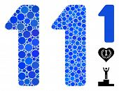 1 Digit Mosaic Of Round Dots In Different Sizes And Color Tints, Based On 1 Digit Icon. Vector Dots  poster