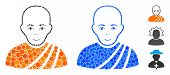 Buddhist Monk Mosaic Of Round Dots In Different Sizes And Shades, Based On Buddhist Monk Icon. Vecto poster