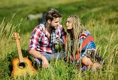 Fresh Air And Pure Feelings. Beautiful Romantic Couple Happy Smiling Faces Nature Background. Boyfri poster