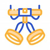 Harness Alpinism Hooking Device Tool Vector Icon Thin Line. Compass, Mountain Direction And Burner M poster