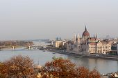 Budapest, Hungary - October 25, 2018: Panoramic Scenery Of Danube River And Parliament Building On C poster
