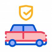 Parking Auto Confirmation Icon Vector. Outline Parking Auto Confirmation Sign. Isolated Contour Symb poster
