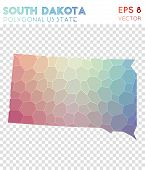 South Dakota Polygonal, Mosaic Style Us State Map. Brilliant Low Poly Style, Modern Design For Infog poster