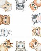 Oval Frame Composition With Kawaii Cartoon Cute Cat, Dog, Bear, Fox, Rabbit, Cow, Raccoon, Deer, She poster