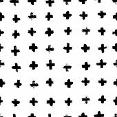 Plus Signs And Crosses Seamless Pattern Of Brush Strokes. Vector Monochrome Grunge Texture From X. S poster
