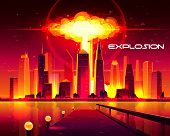 Nuclear Explosion In Metropolis Cartoon Concept. Fiery Mushroom Cloud Of Atomic Bomb Detonation Rais poster