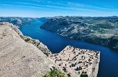 Pulpit Rock At Lysefjorden In Norway.preikestolen Rock Norway poster