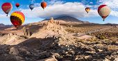 Landscape With Hot Air Balloons Flying In Teide National Park, Tenerife, Canary Islands, Spain. In B poster