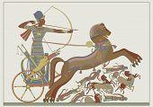 image of ramses  - Fresco of the pharaoh Ramses in combat against Kh - JPG