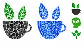 Vegan Cafe Mosaic Of Spheric Dots In Various Sizes And Color Hues, Based On Vegan Cafe Icon. Vector  poster