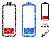 Low Battery Level Mosaic Of Round Dots In Various Sizes And Shades, Based On Low Battery Level Icon. poster