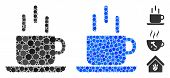 Coffee Mug Composition Of Round Dots In Various Sizes And Shades, Based On Coffee Mug Icon. Vector D poster
