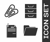 Set Document Folder, Paper Clip, File Document And Paper Clip And Drawer With Documents Icon. Vector poster