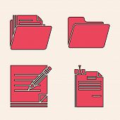 Set File Document And Binder Clip, Document Folder, Document Folder And Blank Notebook And Pencil Wi poster
